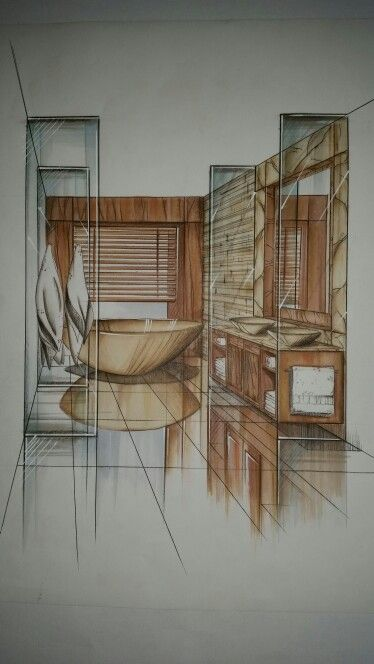 Reflections are made by using quick strokes. They also give the room a 3D look.