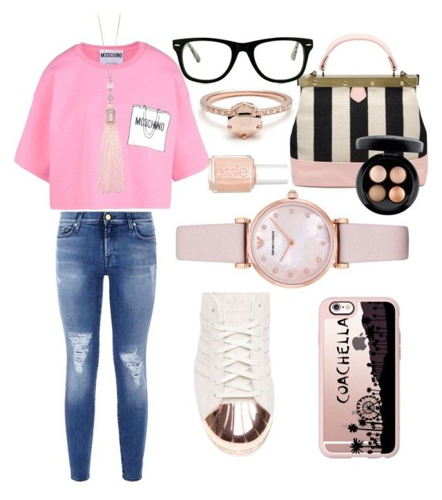 """""""A puro glamm!!!"""" by julietta-castillo ❤ liked on Polyvore featuring 7 For All Mankind, Moschino, adidas, Emporio Armani, Casetify, Oasis, MAC Cosmetics, Muse and Essie"""