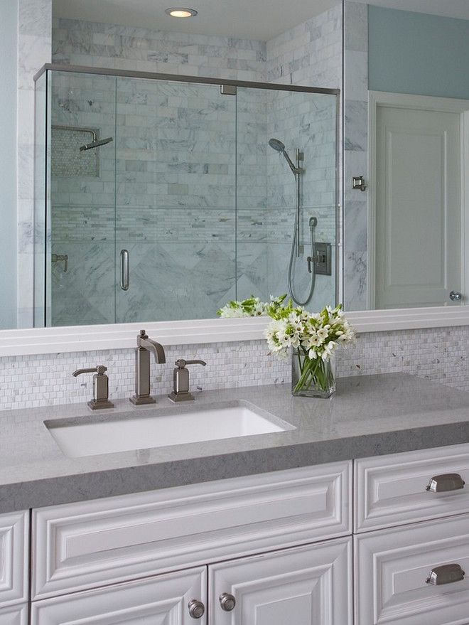 Pretty Bathroom Tiles In Backsplash Shower Gray Countertop Rectangle Sink Large White Frame Mirror White Cabinets With Pulls