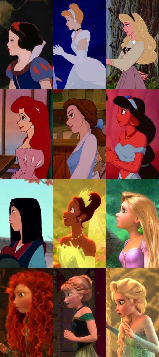 Princesses profiles. Except for those of ethnicities, every Disney princess has virtually the same profile, complete with a perky nose and tiny chin.