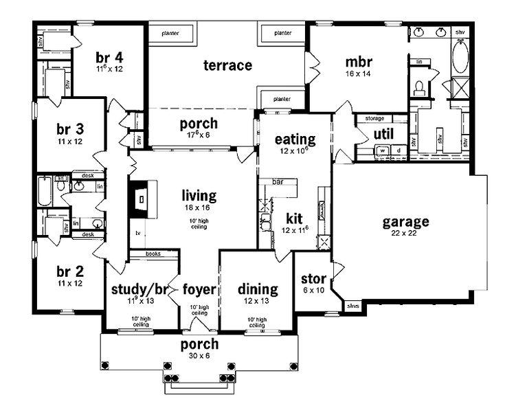 Floor plan 5 bedrooms single story five bedroom european for One story one bedroom house plans