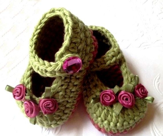 Baby Girl Booties, New Baby Booties, Light Green and Pink Booties,.