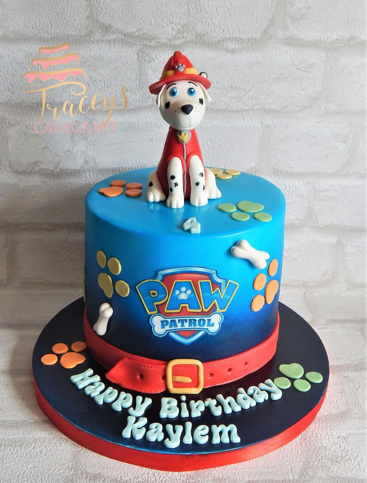 Paw Patrol cake with handmade edible Marshall topper