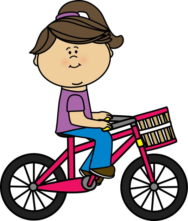 Girl riding a bicycle with a basket | Transportation Clip ...