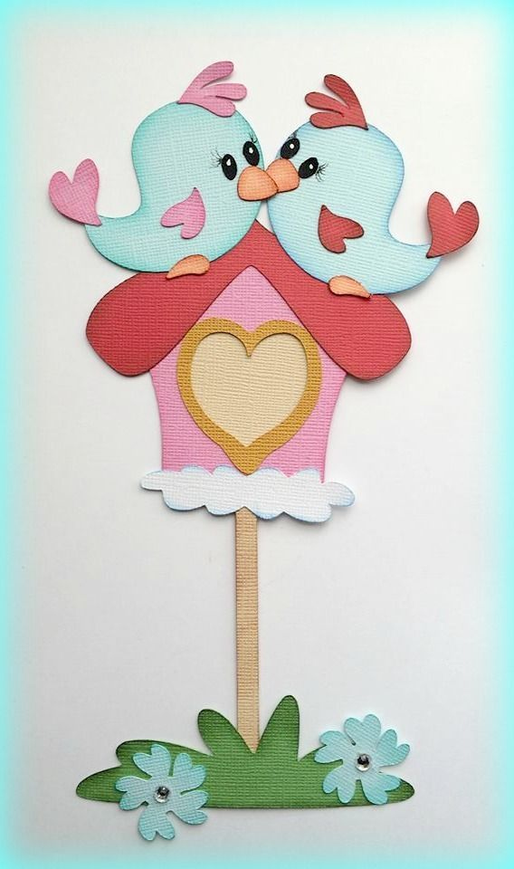 SET OF LOVE BIRDS  PAPER PIECING PREMADE SCRAPBOOKING MY TEAR BEARS KIRA  #Handmade