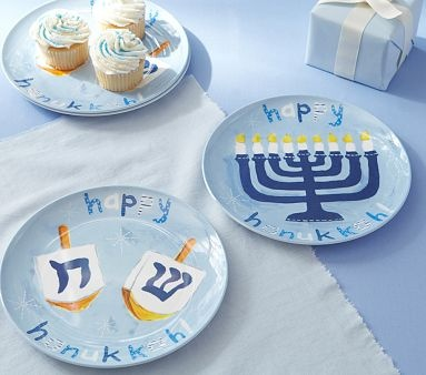 Dreidel u0026 Menorah Hanukkah Plate Set inspiration | Pottery Barn Kids & 18 best Hanukkah images on Pinterest | Hannukah Happy hanukkah and ...