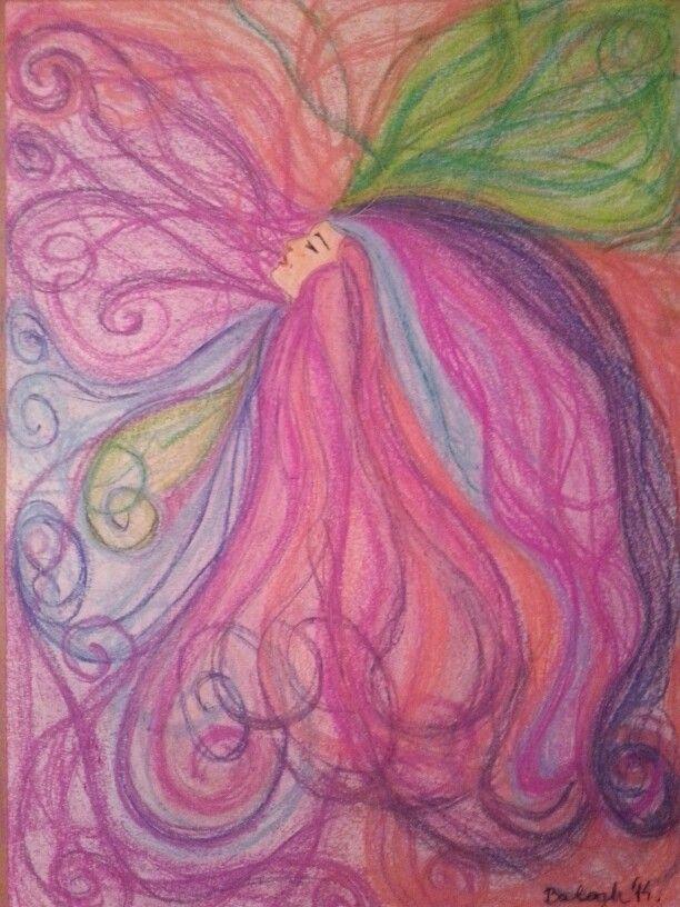 Tünde haj. Elf's hair. Pastell; A3 paper. Artist: Balogh Krisztina