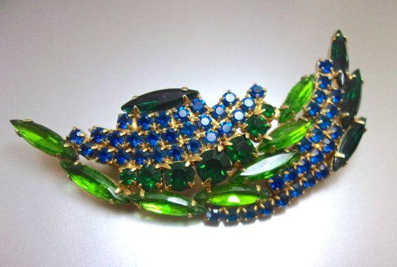 Blue Green Rhinestone Leaf Brooch Curved Arch by RenaissanceFair