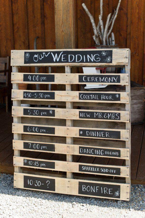 15 Paletten-Zeichen-Ideen für Ihre Hochzeit