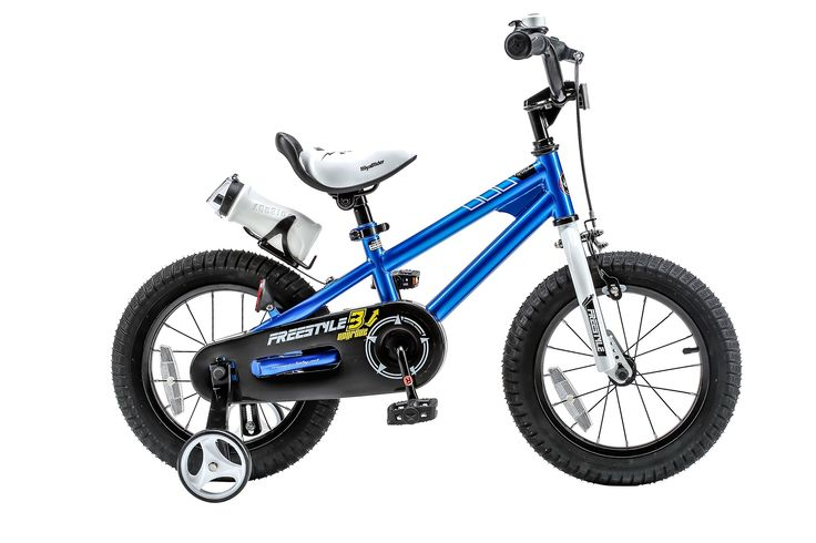 RoyalBaby BMX Freestyle Kids Bike, Boy's Bikes and Girl's Bikes with training wheels, Gifts for children, 14 inch wheels, Blue