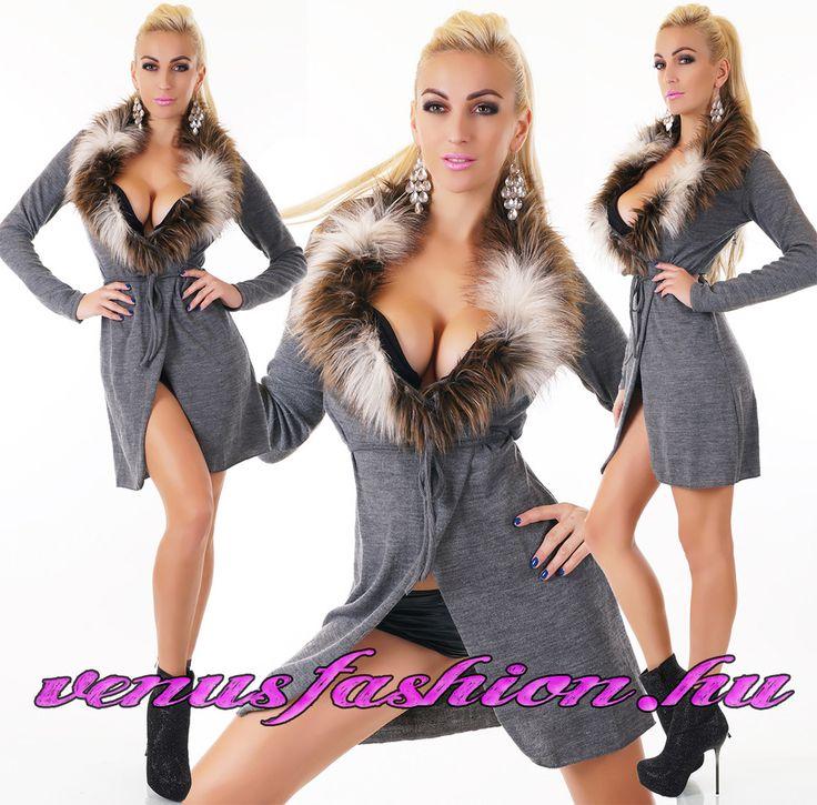 Divatos szürke női prémes pulóver övvel - Venus fashion női ruha webáruház