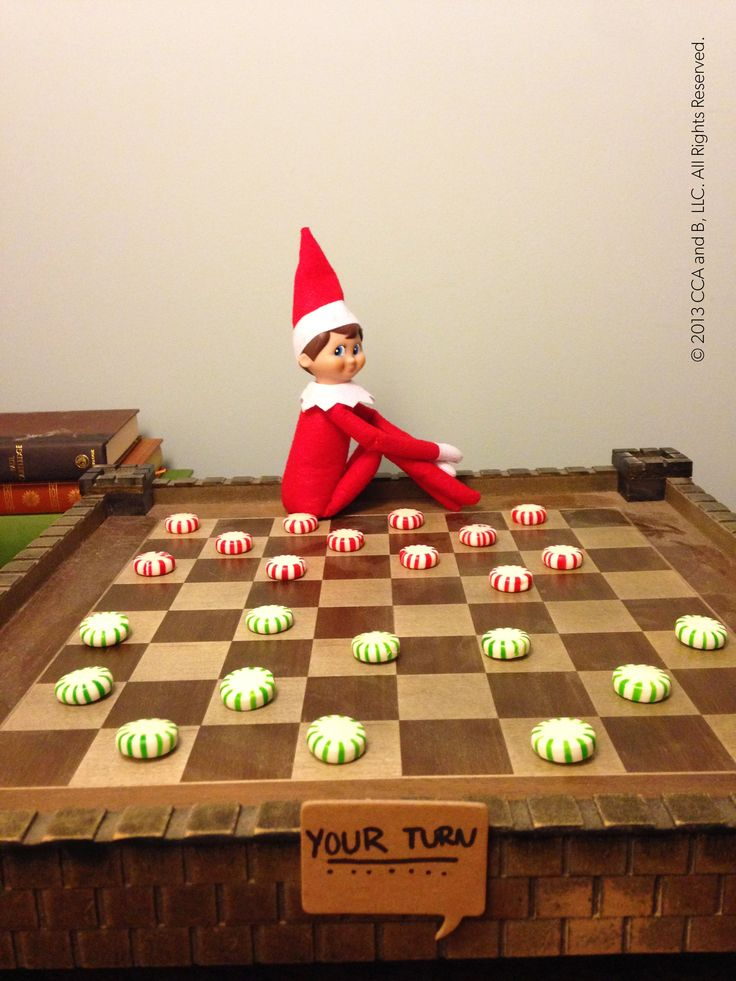 Elf on the Shelf playing Checkers - Winner gets the mints..Fun and games - North Pole style!