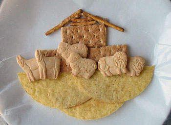 edible noahs ark-animal crackers, graham crackers, pringles, and a few pretzels
