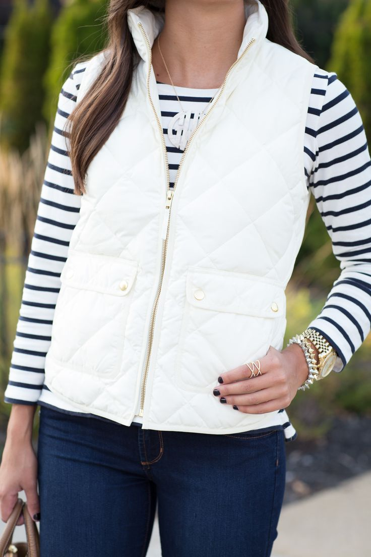 Ivory Quilted Vest Stripes Striped Tee Fall Fashion