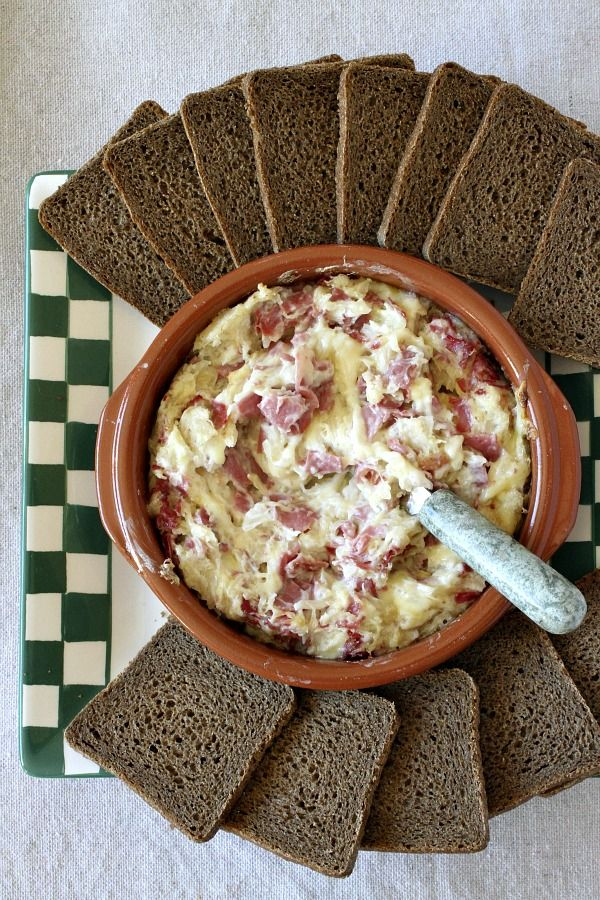 Hot Reuben Dip Appetizer Recipe:  a rich and creamy dip with corned beef.  Perfect for St. Patrick's Day!