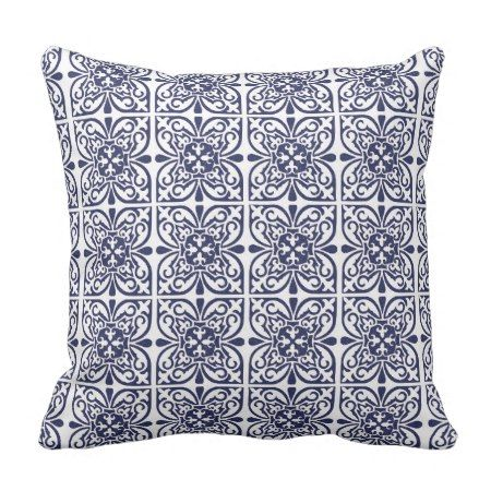 Navvy Blue White Moroccan Geometric Boho Beach Throw Pillow #throwpillow #cushions #navy #hamptons #damask