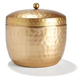 Brass Coloured Hammered Cup with Fragrant Candle - Lime and Mandarin