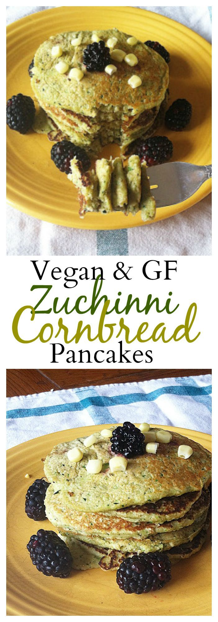 These may possibly be the best pancakes ever! Zucchini Cornbread Pancakes that are both #vegan and #glutenfree! #healthy
