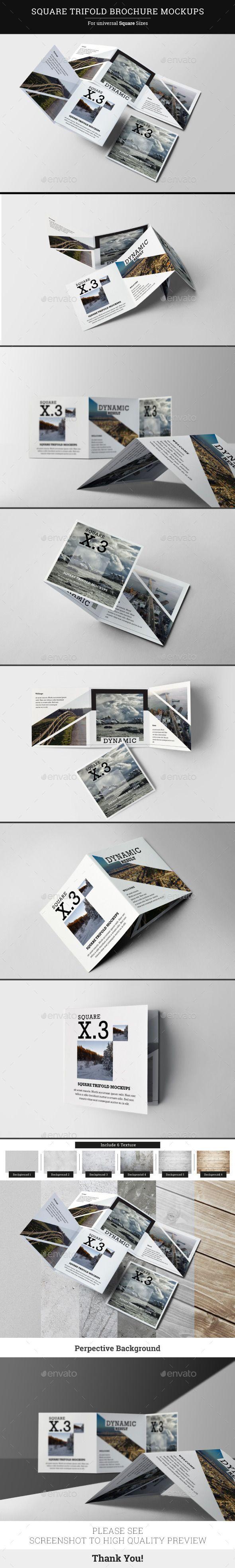Square Trifold Brochure Mockups  #flyer #flyer mockup #folded #greeting card #identity #$7
