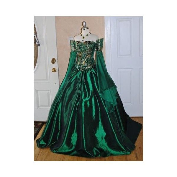 The Ball Gown Design in the Victorian Dresses ❤ liked on Polyvore featuring dresses, gowns, victorian, victorian dresses, victorian evening dress, green gown, green evening gown and green color dress