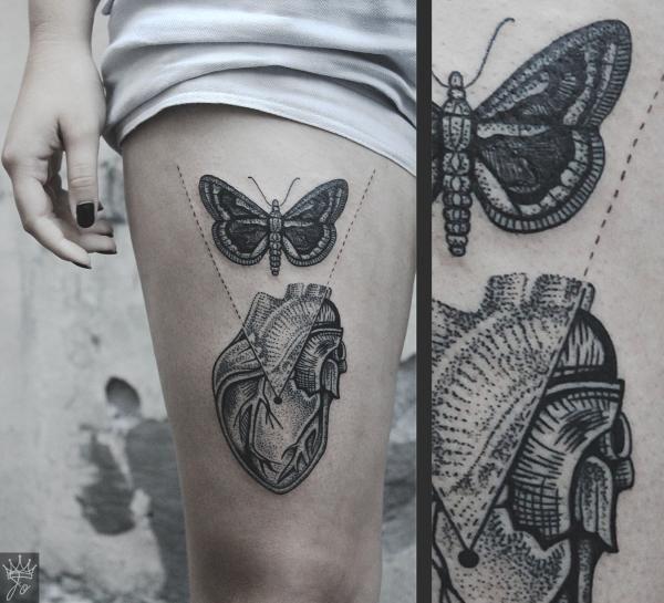 Мотылёк и сердце | Татуировки, эскизы и тату-мастера России, Украины, Беларуси и из всего бывшего СССР
