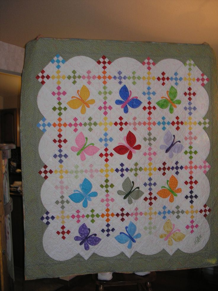 Butterfly Quilt made by a Quilting Board member. Would love to make this for the granddaughter! No pattern, just the idea - shouldn't be too hard to make.