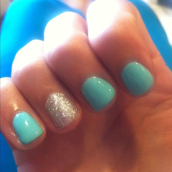 Turquoise Nails With Glitter