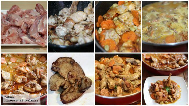 ESTOFADO DE CONEJO CON ZANAHORIAS Y HABAS Un conejo cortado en trozos, 2 cucharadas de harina, 1 diente de ajo, 1 cebolla, 2 zanahorias hermosas, una lata de habas cocidas, aceite de oliva virgen extra, 1 vaso de caldo de carne 2 cucharadas de tomate frito, 50 ml de nata líquida y 20 ml de vino de Oporto o Pedro Ximénez  http://www.directoalpaladar.com/recetas-de-carnes-y-aves/receta-de-estofado-de-conejo-con-zanahorias-y-habas