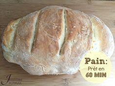 Notre merveilleux et délicieux pain ! Recette prêt en 60 minutes avec cinq ingrédients.
