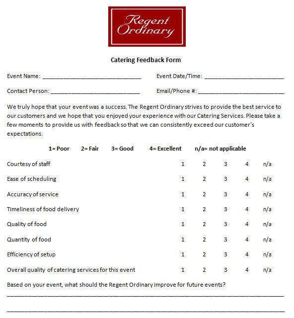 Catering Feedback Form Introductory Paragraph Business Template Customer Satisfaction Survey Template