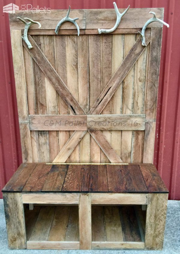 Rustic 6 Foot Tall Pallet Hall Tree Bench Pallet Ideas