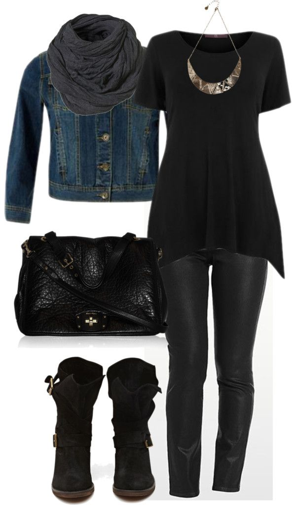 """Black & Denim - Plus Size"" by alexawebb ❤ liked on Polyvore"