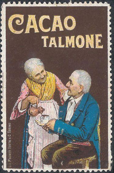 Due vecchi, dopo il 1890; su disegno di Ochsner; pubblicità cacao Talmone, Torino; bollo chiudilettera