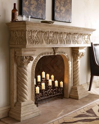 """CEASAR"" MANTEL - Ours exclusively. Impressively detailed acanthus leaves decorate this easy-to-assemble cast-stone mantel with an aged finish that may be used indoors or out. 72""W x 15""D x 50""T with 34.75""W x 32.25""T opening."