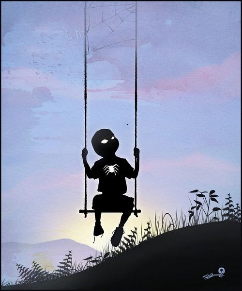 Silhouettes of children as their favorite superheroes.