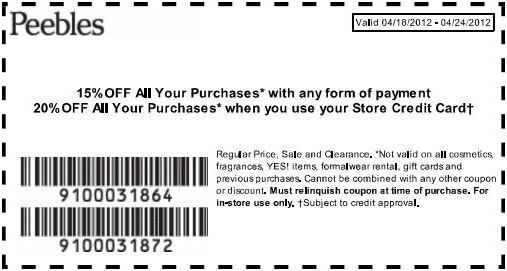 Save 15% at Peebles! #coupon