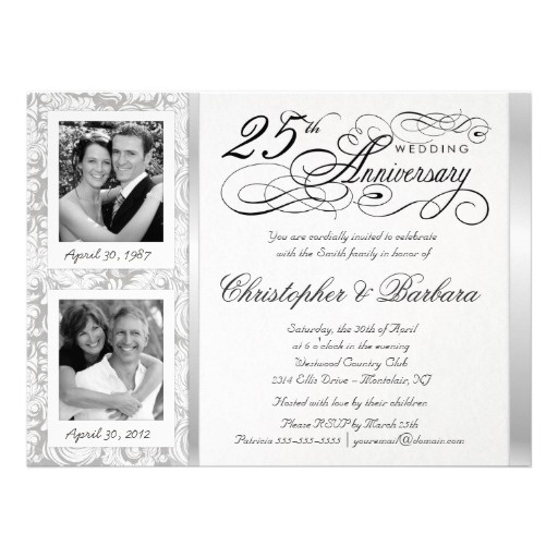 Fancy 25th Anniversary Invitations - Then & Now