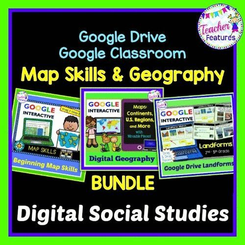 This Google Classroom bundle is an interactive and engaging way for your students to practice map skills and geography, while saving you prep time, paper and money! Movable pieces and interactive text boxes make learning about Map Skills, World Continents, U.S. Regions and Landforms extra fun.