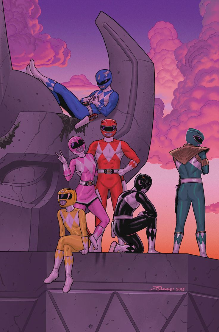 The Power Rangers and the original Megazord, from the recent comic.
