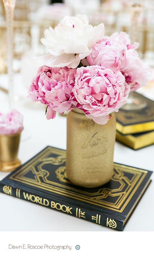 Peonies Gold Spray Painted Mason Jars And Old World Books