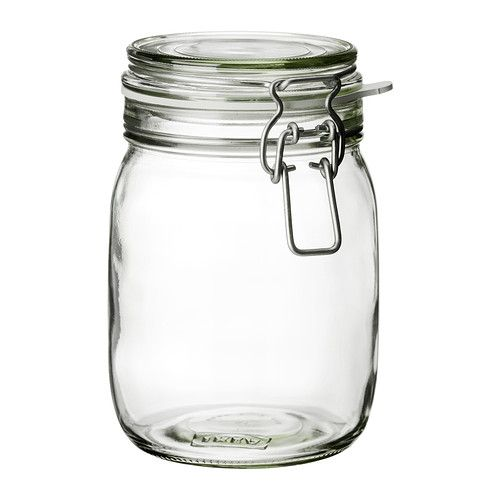 $3.99 KORKEN Jar with lid IKEA The jar has an airtight seal, which makes it perfect for preserving your favorite homemade jams and jellies.