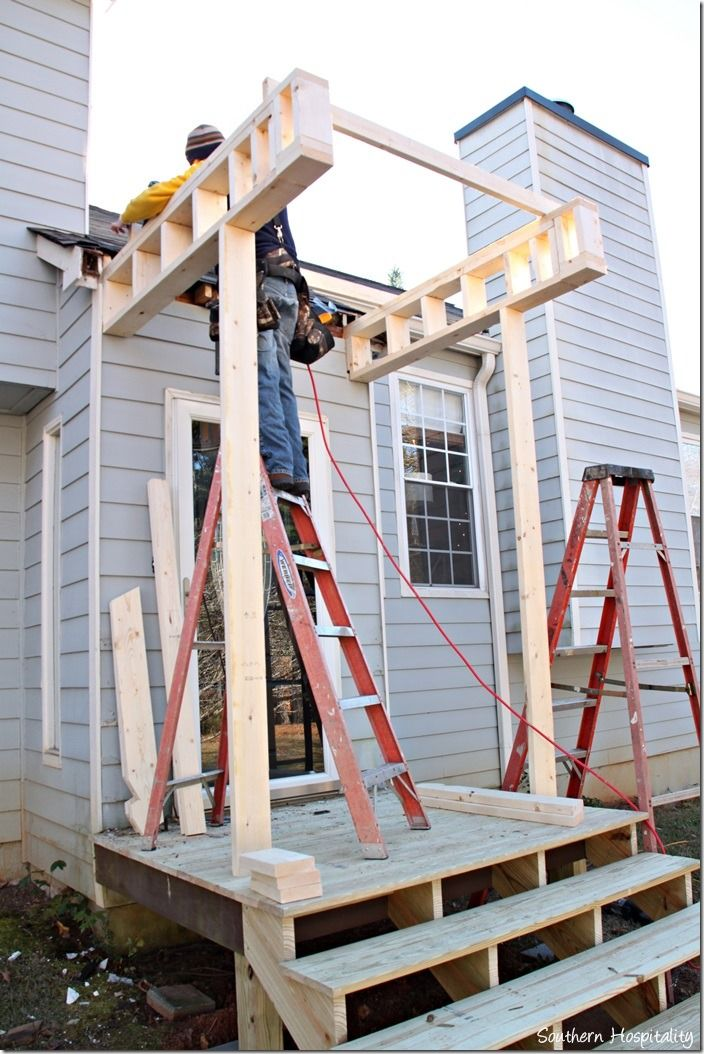 Building a Front Portico @stempywoodcraft I want this at the front door since we need to redo steps!