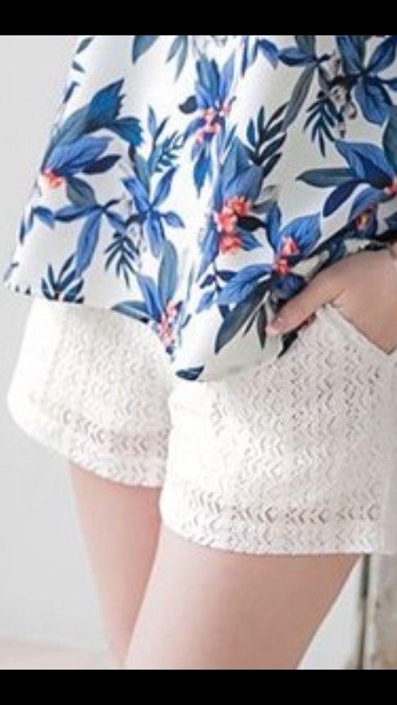 Lila Rose White Laced Women's Trouser Style Shorts Size 4 NWT #LilaRose #CasualShorts