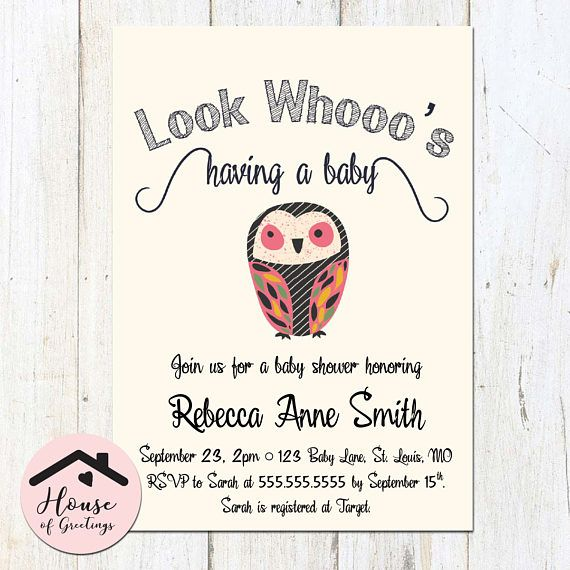 Look whooos having a baby! Its a printable baby shower invitation that you edit in Microsoft Word and print out yourself. This invitation template puts everything in your own hands - no waiting on a design! Simply follow the easy instructions included in the READ ME file, make changes in Word, and print! Your printable shower invitation will be available for you to download immediately after you pay. Remember, this is a digital product that you change and print yourself. If you would like me ...