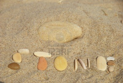 Concept of stone on the sand