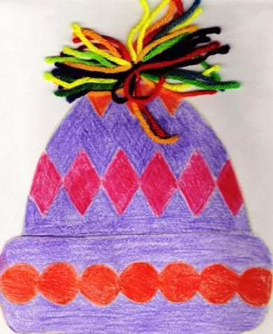 Analogous hat...maybe with foam shapes or something more pattern related. love the top though