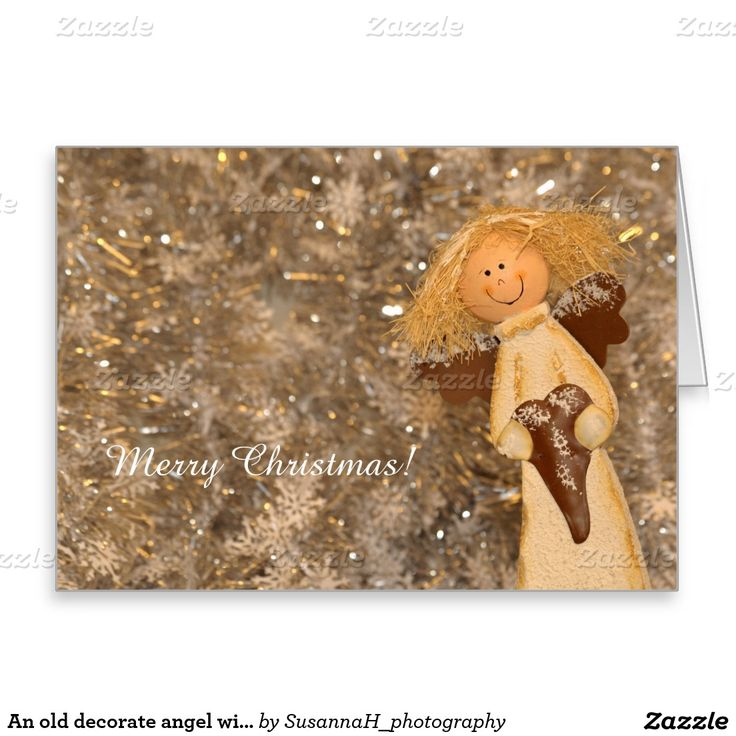An old decorate angel wishes Merry Christmas Greeting Card