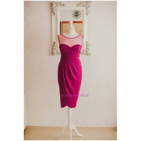 Granatowa długa sukienka wyszczuplająca z siateczką rozcięciem