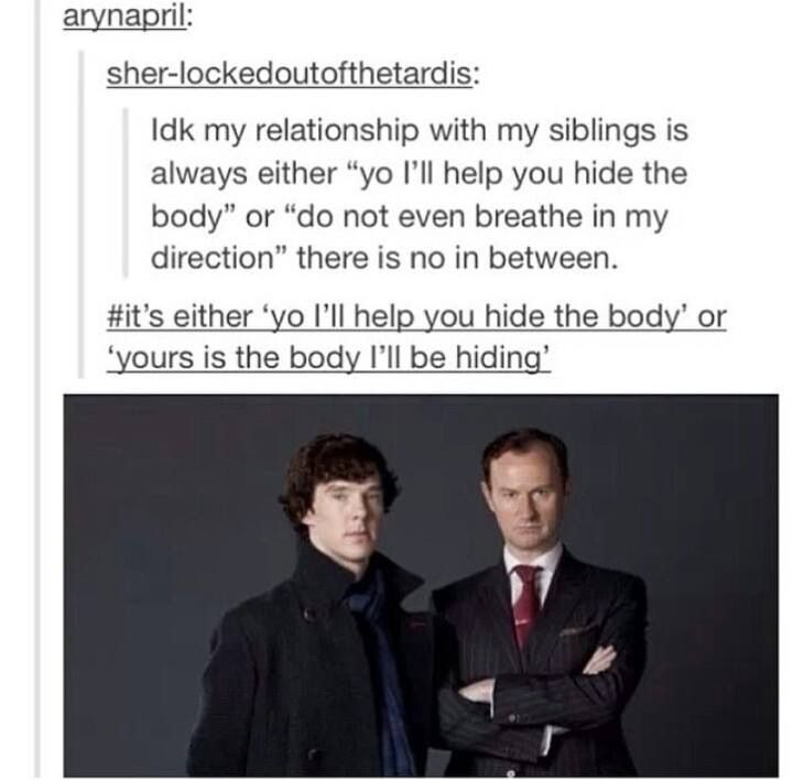 A spot-on description of Sherlock's and Mycroft's relationship haha.