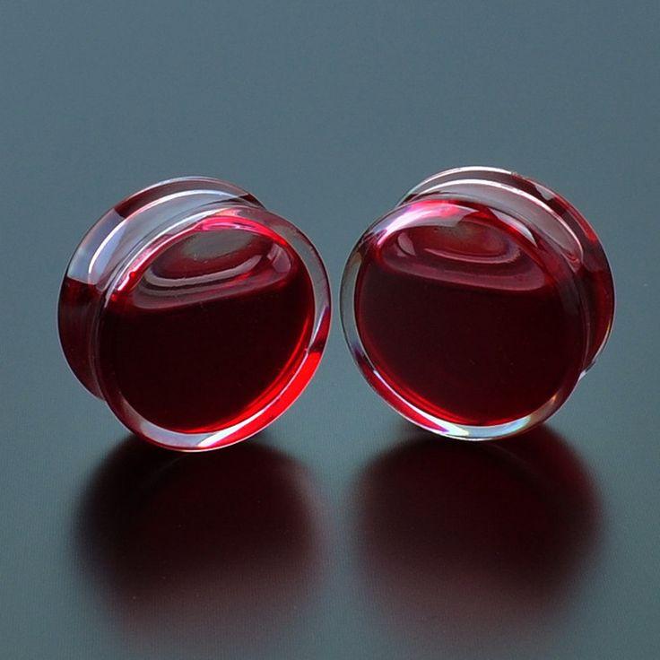 SWANJO 2PCS Red Liquid Blood Acrylic Double Flared Saddle Ear Gauges Ear Plug Earrings Gauges Body Piercing Plug Ears Stretcher